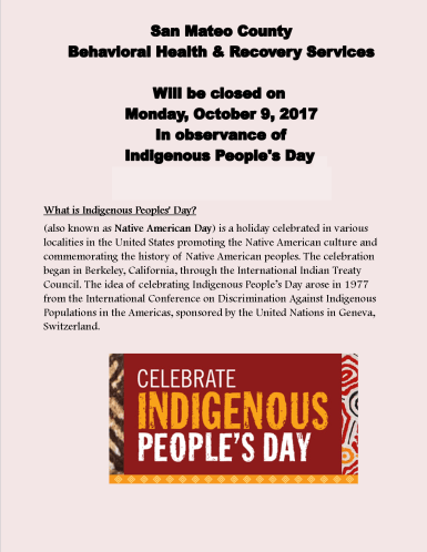 Indigenous Peoples Day Clinic Closed flyer 10 2016