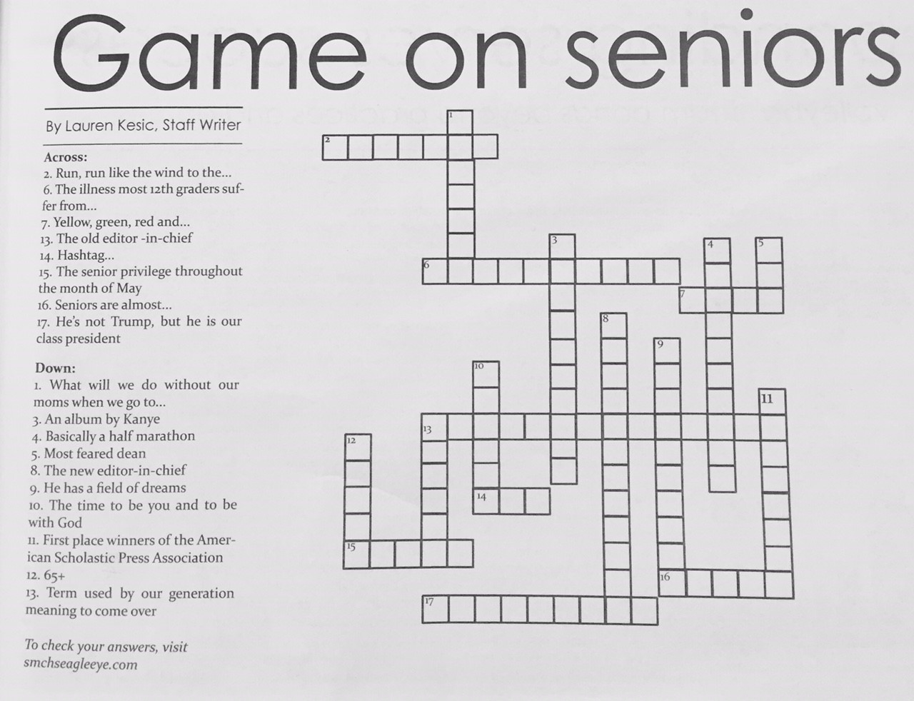 The Eagle Eye : Answers to print issue 6: crossword puzzle