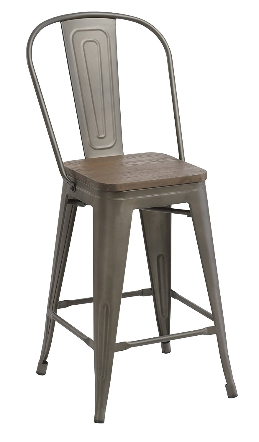 24Bar Stool Chair High Back Natural Wooden seat Set of 2