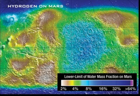 Un mapa de color de Marte que muestra la distribución de hidrógeno mediante el mapeo del límite inferior de la fracción de masa de agua.