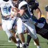 Junior Wyatt Edmisten heads towards the end zone in attempt of a touchdown. Photo by Hailey Hughes