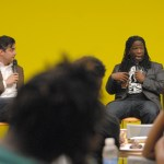 Nathan Louis Jackson and Tanner Colby discuss race with students. Photo by Audrey Kesler
