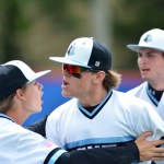 Junior Jake Randa is unable to control his excitement after a play made in the outfield. Photo by Joseph Cline