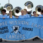 The Shawnee Mission East band leads the Lancers in the parade. Photo by Luke Hoffman