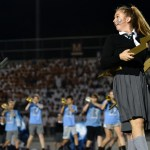 Varsity Lancer Dancer Piper Noblit performs during halftime. The performance was based on Harry Potter and they debuted it at the game. Photo by Lucy Morantz