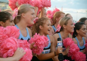 Varsity cheerleader and senior Mya Hutcherson speaks for Fox News alongside her teammates. Photo by Katherine McGinness
