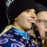 Sophomore Annie Gorman plays the clarinet during the halftime show. Photo by Katherine McGinness