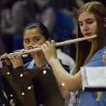 Sophomore Shelby Winter and freshman Elliot Bowles play with the band. Photo by Ally Griffith