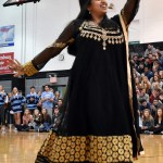 Junior and co-head of Bollywood Dance Club Anika Radadiya performs at the end assembly. Photo by Lucy Morantz