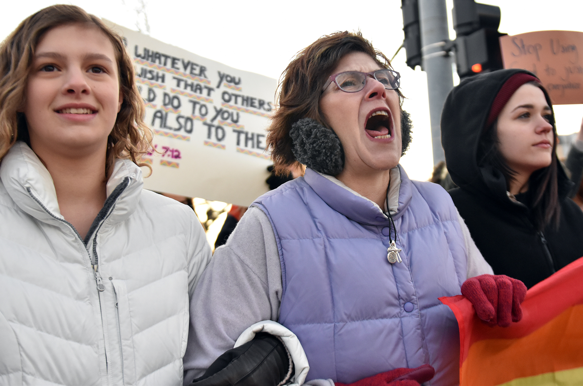 A woman defends her views to the Westboro Baptist protesters across the street. Photo by Lucy Morantz