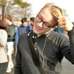 Junior Stuart Hanson smiles as his friend makes a joke. Photo by Luke Hoffman