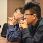 Senior Noah Kim listens to Mr. Webster present on the sewage treatment plant.