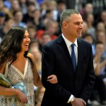 Senior Madeline Hlobik laughs excitedly with her dad as she is announced 2nd Attendant. Photo by Ellie Tihoma