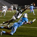 Senior Deonte Carroll dives for an overthrown pass during the 4th quarter. Photo by Ty Browning
