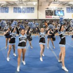 The winter pep assembly is kicked off with the Lancer cheerleaders welcoming Lancer students. Photo by Luke Hoffman