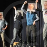 Seniors Anderson Maddox, Luke Cleaver, Cooper Holmes,  Nathan Perkins Rock, and Jack  McElroy perform a dance to Apache by The Sugarhill Gang for Cooper Holmes's talent act.  Photo by Ally Griffith