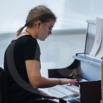 Junior Lily Campbell rehearses her piano part to Siciliano and Rondo. Photo by Dakota Zugelder