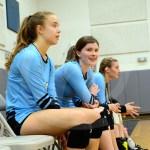 Sophomore Grace Allen laughs as East scores a point.