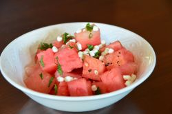 Grilled Watermelon Salad with Mint and Goats Cheese
