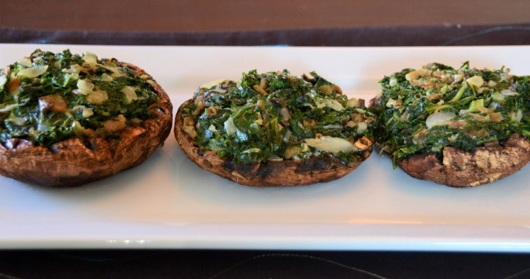 Stuffed Portobello Mushrooms with Kale and Pickled Mustard Cabbage