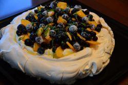 Peach & Berry Pavlova with Lemon Curd