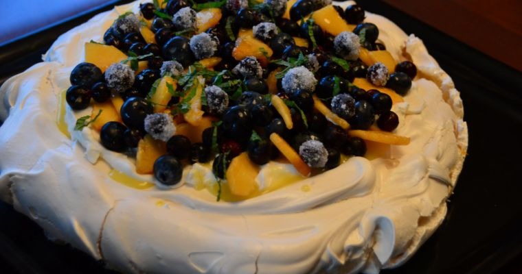 Peach & Berry Pavlova with Lemon Curd