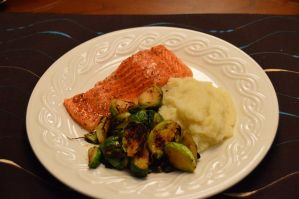 Plated Steelhead Trout with Pureed Cauliflower and Pan Fried Brussel Sprouts