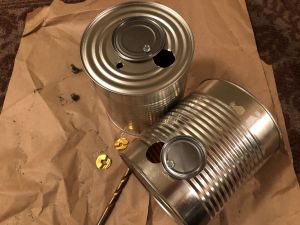Intake and exhaust valves mounted on DIY Tin Can Smoker