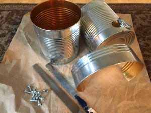 Components of DIY Tin Can Smoker including Inner connector ring