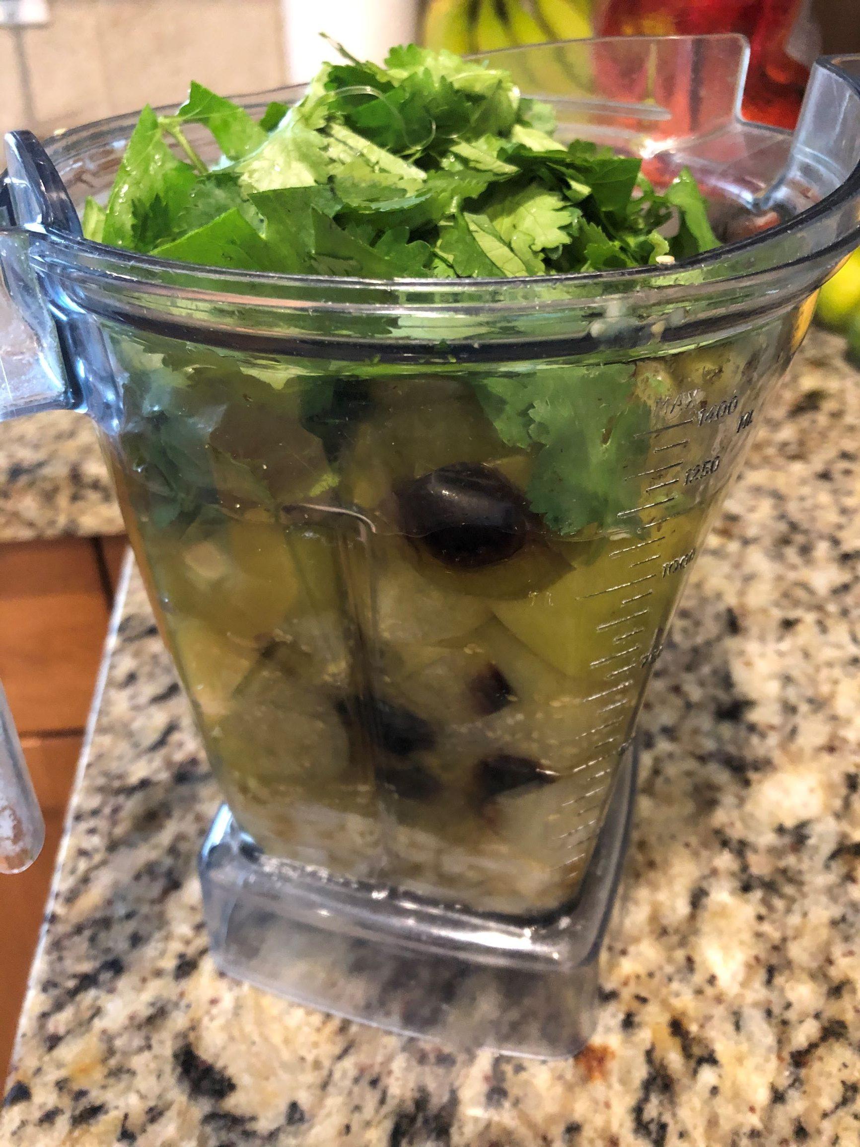 Salsa verde components ready for blending
