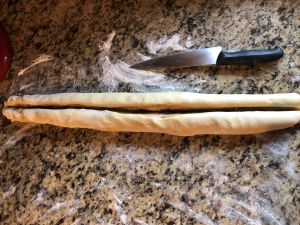 Cinnamon Almond Knotted Bread - Cut log in half lengthwise