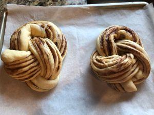 Cinnamon Almond Knotted Bread - Knotted Bread after proofing