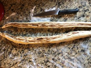 Cinnamon Almond Knotted Bread - Roll cut face upwards