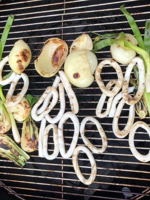 Squid Rings on the Grill