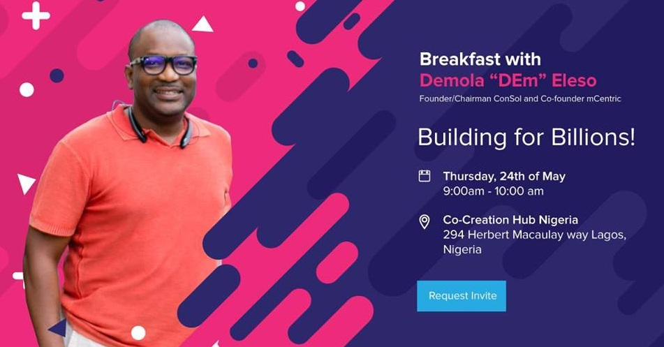 Demola Eleso, guest at CcHub Breakfast Chat