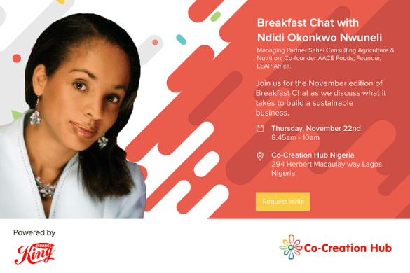 CcHub Breakfast Chat with Ndidi Nweneli - Novembejr Edition flyer