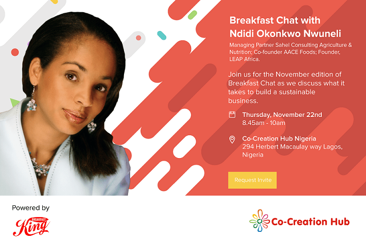 Attend CcHub Breakfast Chat With Ndidi Nweneli, Tomorrow