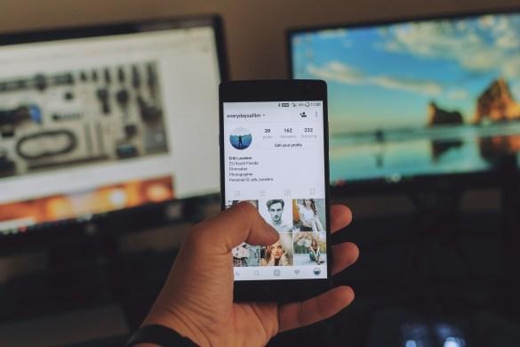 Businessmen follow social media