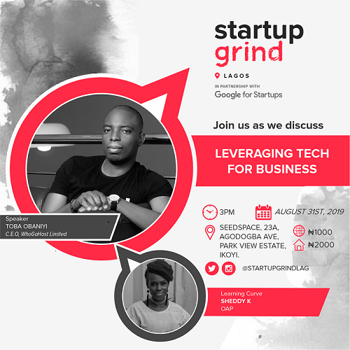 Startup Grind Lagos set to host WhoGoHost CEO, this August. Wish to participate?