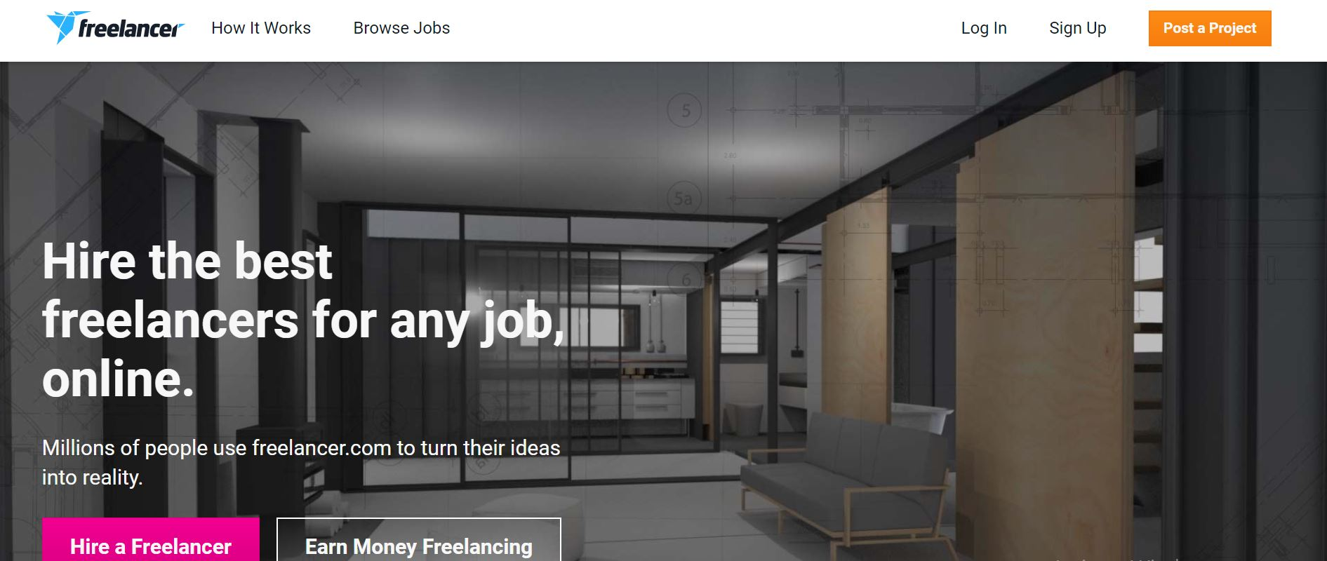 Freelancer screenshot as one of the top freelancing sites