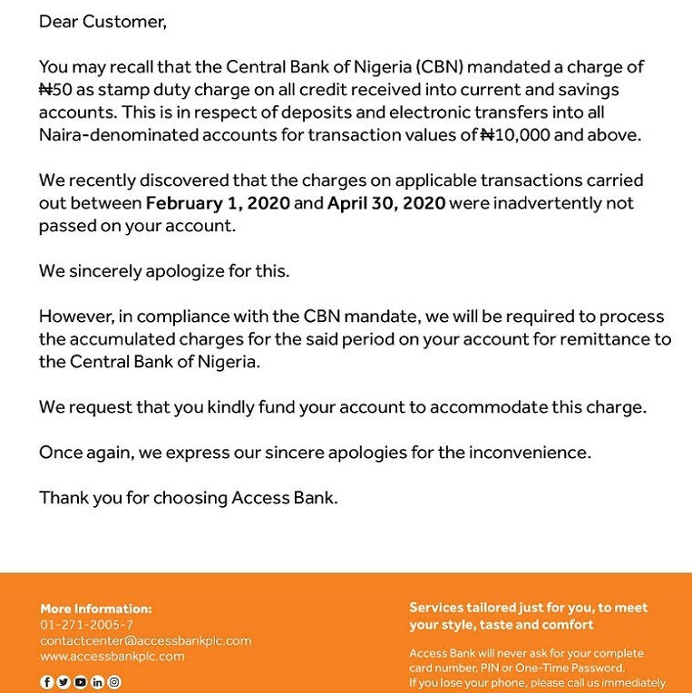 Access bank stamp duty