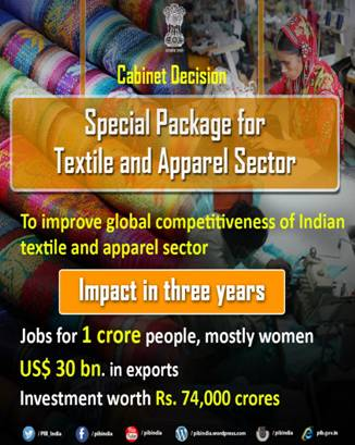 Special Package to Create 1 Cr Jobs & Achieve USD 30 Billion in Exports of Apperal Sector