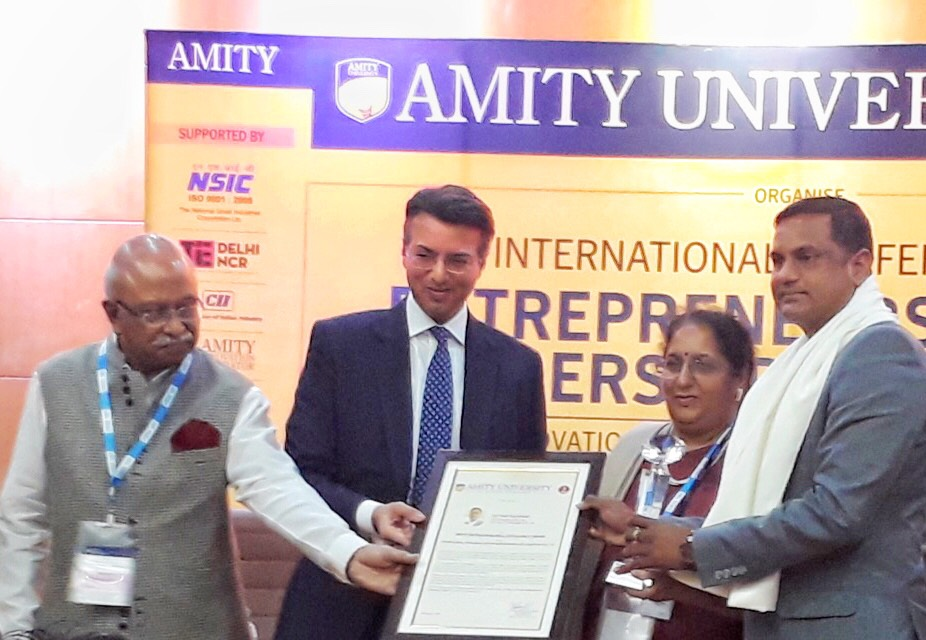 """Satyam Sikarwar of SAP Infra Technologies Receives """"Entrepreneurial Excellence Award – ICT Sector"""" by Amity University"""