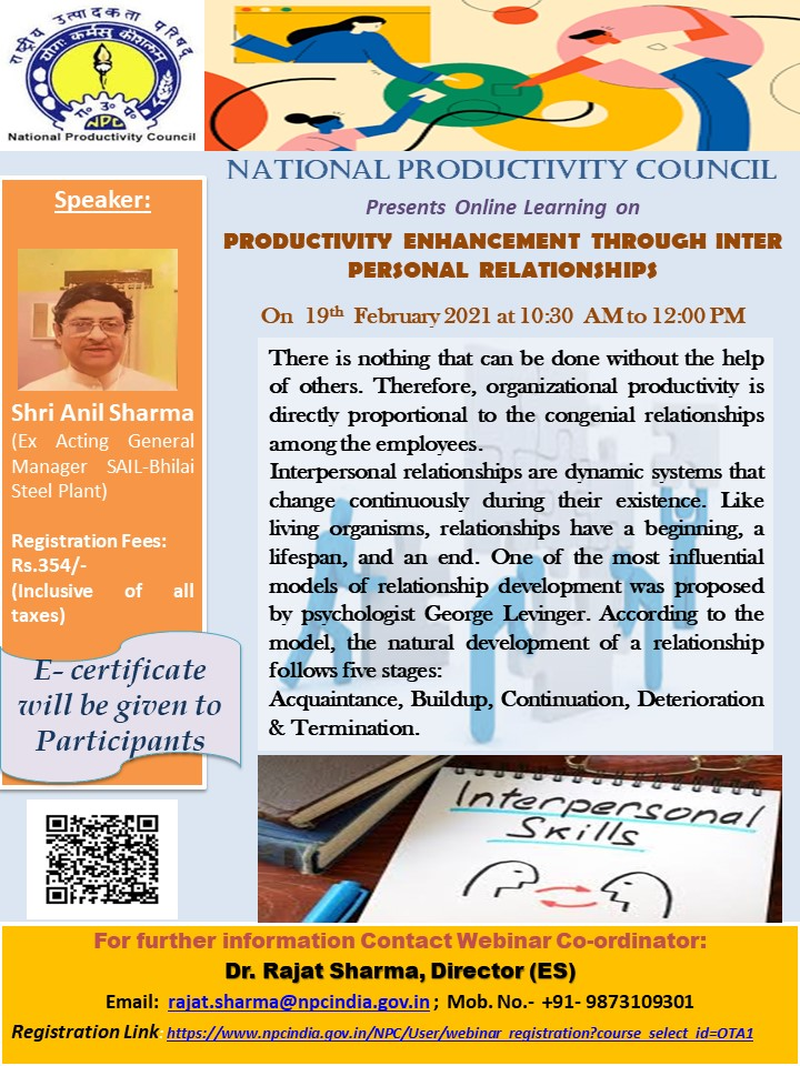 Productivity Enhancement Through Inter Personal Relationships Webinar by NPC