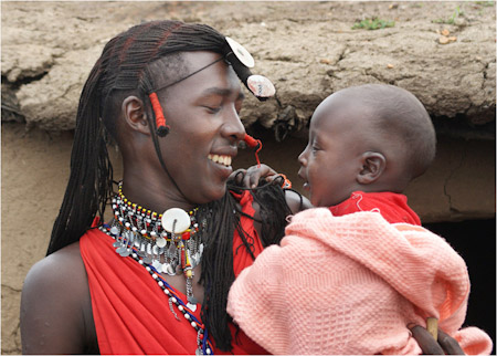 MAASAI WARRIOR WITH SON