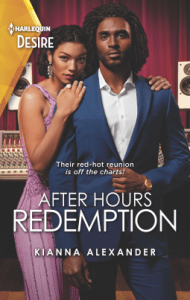 Book cover of After Hours Redemption by Kianna Alexander-. Very sexy looking couple standing next to each other looking sexy.