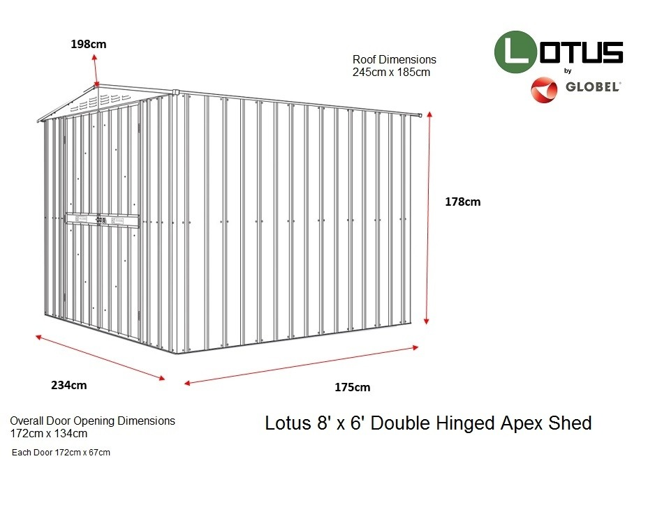 Lotus 8x6 Double Hinged Motorcycle Metal Shed (Various Colours)