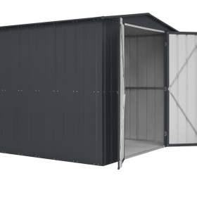 Lotus 8' x 6' Metal Double Hinged Door Shed - Anthracite Grey Solid