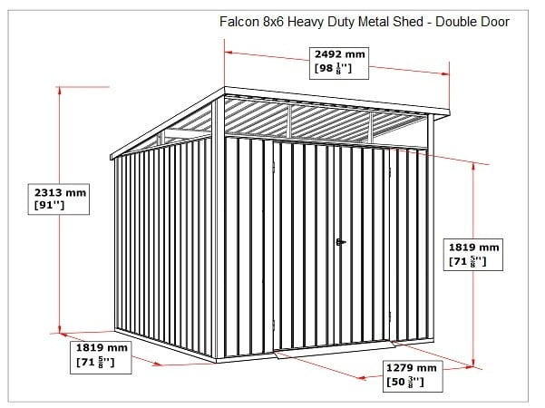 SM Garden Sheds Falcon 8x6 Heavy Duty Apex Shed Double Door (Arriving January 2020 Call To Preorder) - Anthracite Dark Grey