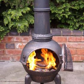 SM Garden Sheds Ellipse Extra Large Mexican Chimenea -Anthracite Grey - Contemporary Range